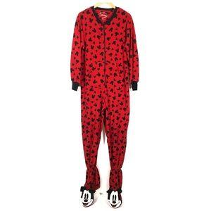 Disney Mickey Mouse Footed Fleece Pajama PJs 8/10